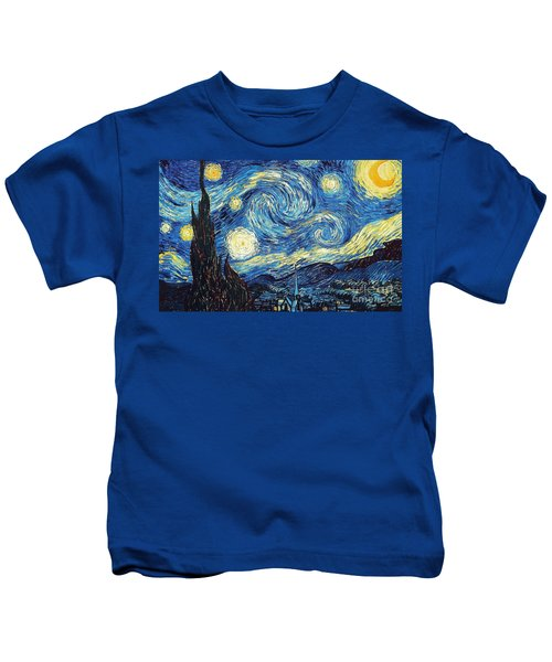 Starry Night By Van Gogh Kids T-Shirt