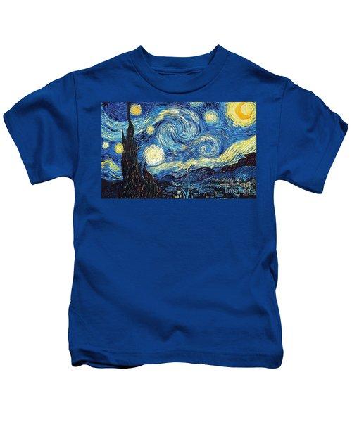 Starry Night By Van Gogh Kids T-Shirt