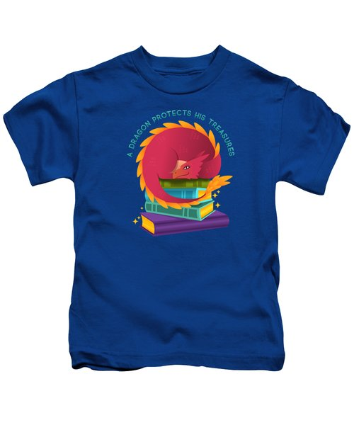 A Dragon Protects His Treasures Blue Kids T-Shirt