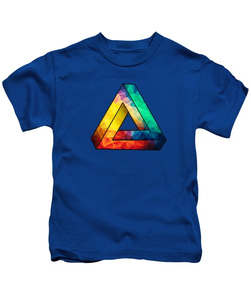 Abstract Polygon Multi Color Cubism Low Poly Triangle Design Kids T-Shirt