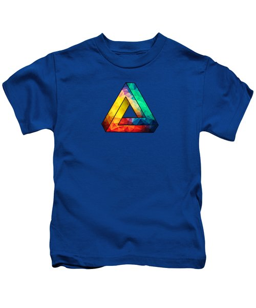 381f5d33 Abstract Polygon Multi Color Cubism Low Poly Triangle Design Kids T-Shirt