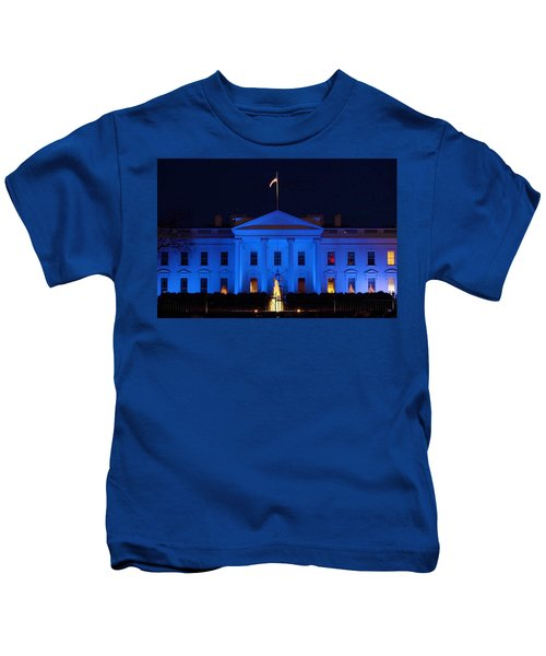 Kids T-Shirt featuring the photograph Blue White House by Chris Montcalmo