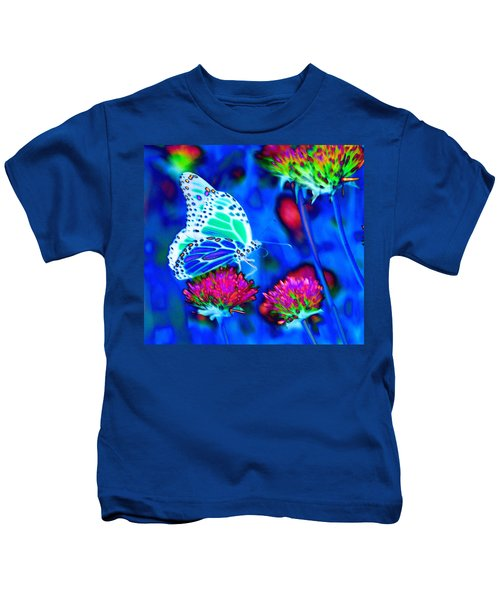 Butterfly Blue Kids T-Shirt
