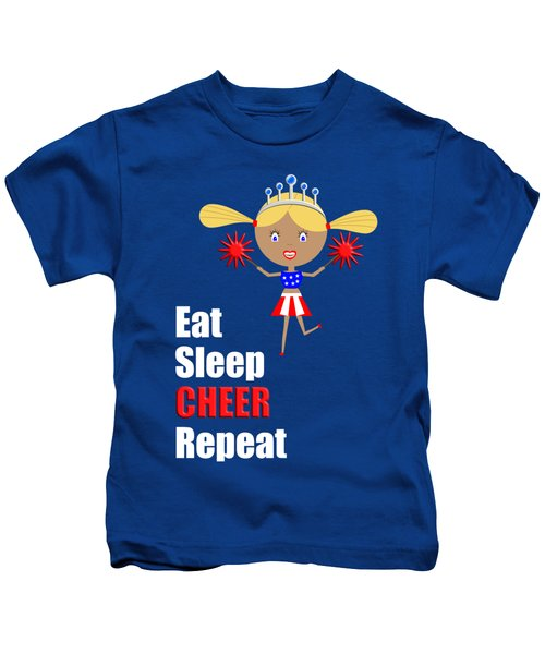 Cheerleader And Pom Poms With Text Eat Sleep Cheer Kids T-Shirt