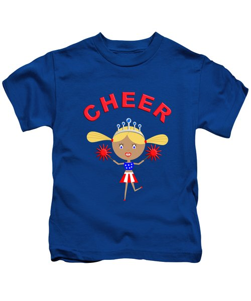 Cheerleader With Pom Poms And Cheer In Arched Text  Kids T-Shirt