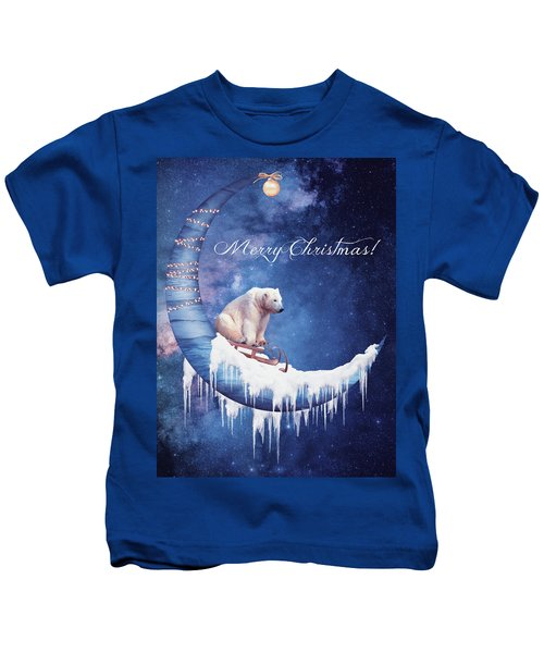 Christmas Card With Moon And Bear Kids T-Shirt