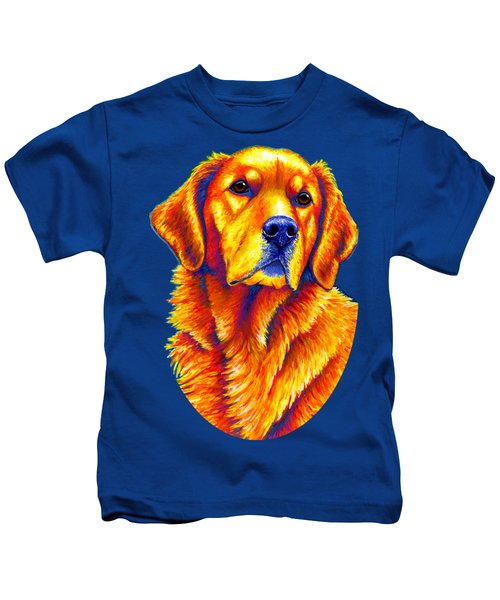 Colorful Golden Retriever Dog Kids T-Shirt