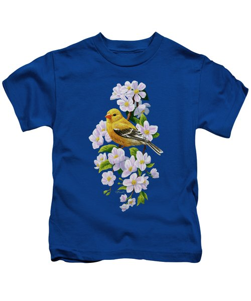 Female American Goldfinch And Apple Blossoms Kids T-Shirt