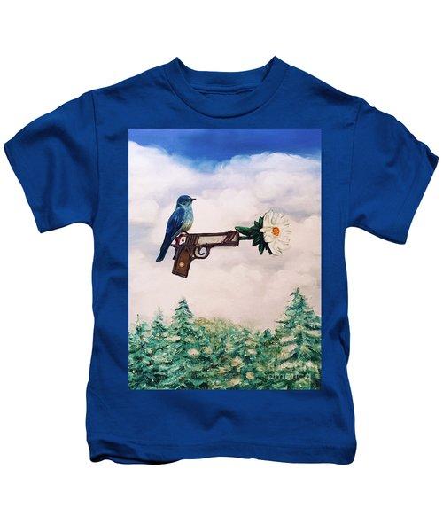 Flower In A Gun- Bluebird Of Happiness Kids T-Shirt