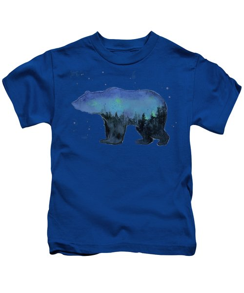 Forest Bear Watercolor Galaxy Kids T-Shirt