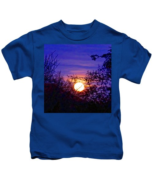 Kids T-Shirt featuring the photograph Full Moonrise In Gemini by Judy Kennedy