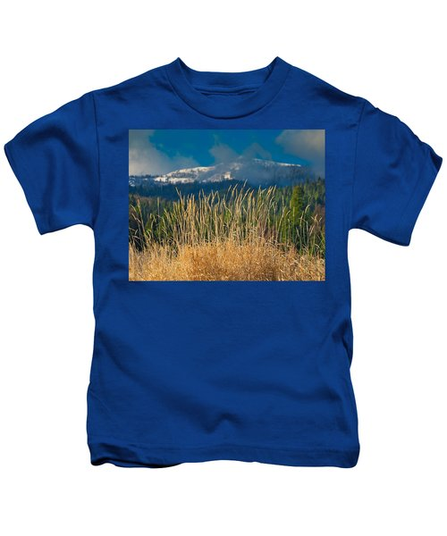 Gold Grass Snowy Peak Kids T-Shirt