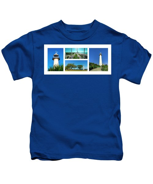 Grand Old Lighthouse Biloxi Ms Collage A1a Kids T-Shirt