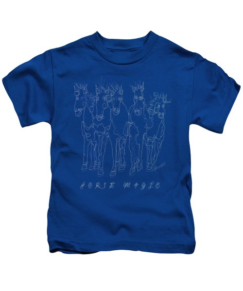 Horse Magic Line Drawing Horse Silhouette Design Kids T-Shirt
