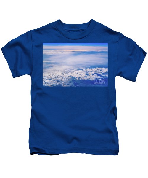 Intense Blue Sky With White Clouds And Plane Crossing It, Seen From Above In Another Plane. Kids T-Shirt