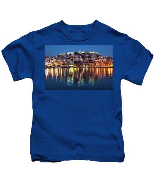 Kavala Town At Night Kids T-Shirt