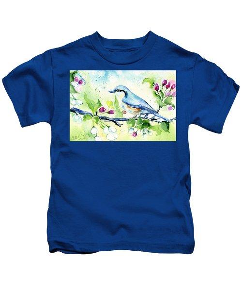 Little Blue Spring Bird Kids T-Shirt