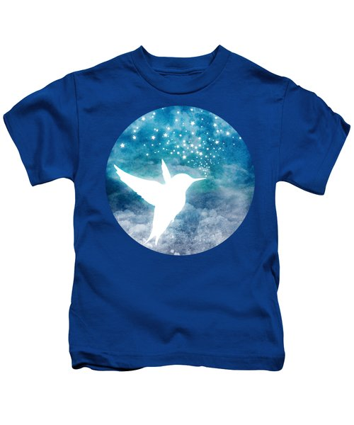 Magical, Whimsical Spirit Hummingbird Drinking Stars Kids T-Shirt