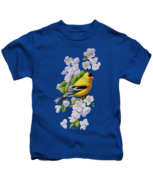 Male American Goldfinch And Apple Blossoms Kids T-Shirt