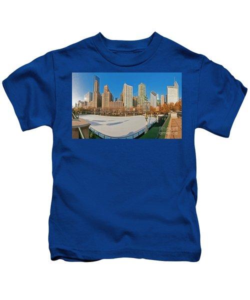 Mccormick Tribune Plaza Ice Rink And Skyline   Kids T-Shirt