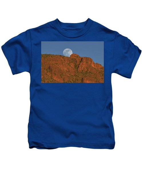 Moonrise Over The Tucson Mountains Kids T-Shirt
