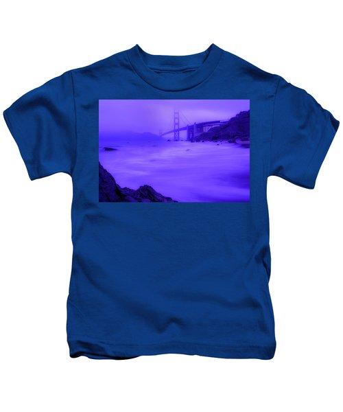 Purple Golden Gate Fog Kids T-Shirt