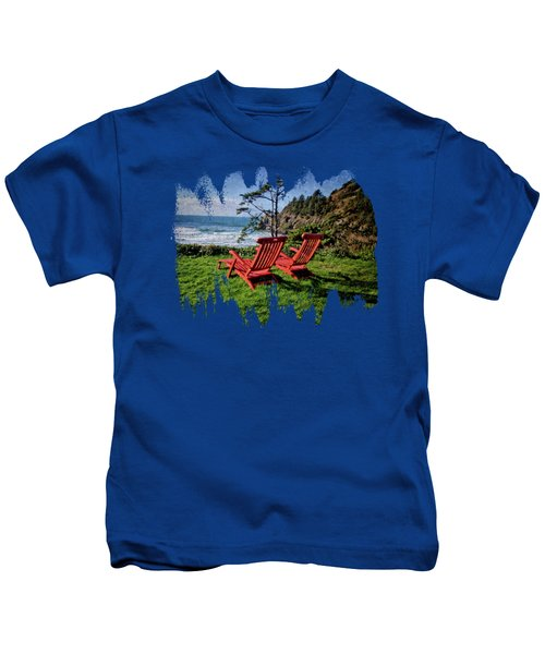 Red Chairs At Agate Beach Kids T-Shirt