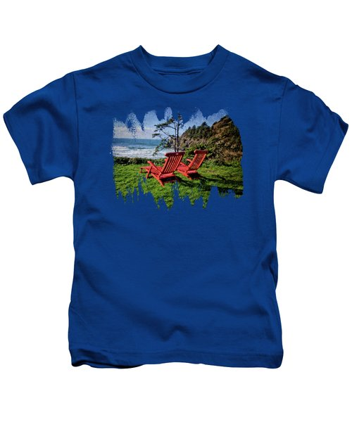 Red Chairs At Agate Beach Kids T-Shirt