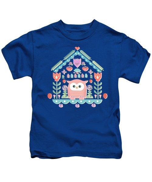 Scandinavian Folk Style Owl Bird House Kids T-Shirt