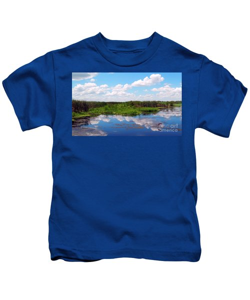 Skyscape Reflections Blue Cypress Marsh Near Vero Beach Florida C6 Kids T-Shirt
