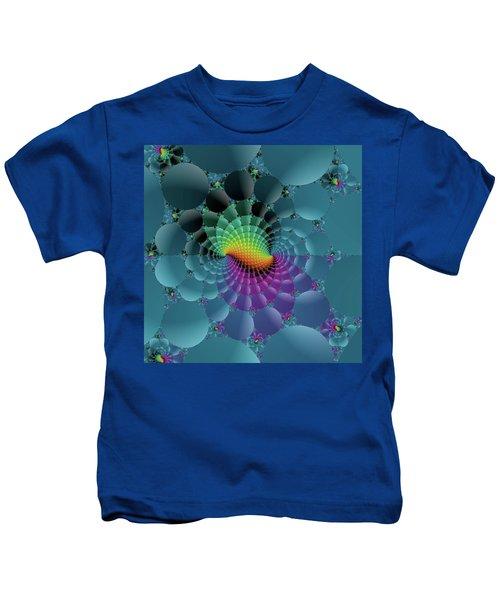 Slate Blue Fractal Kids T-Shirt