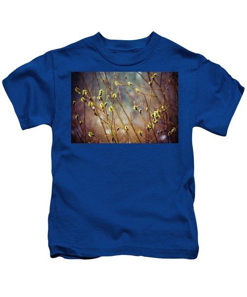Snowfall On Budding Willows Kids T-Shirt