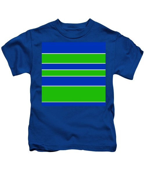 Stacked - Navy, White, And Lime Green Kids T-Shirt