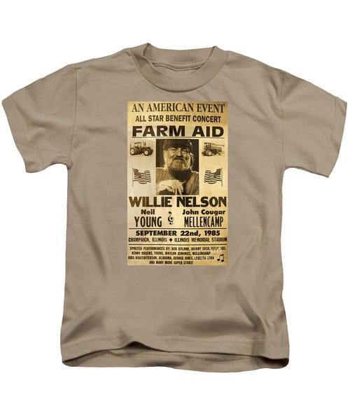 Vintage Willie Nelson 1985 Farm Aid Poster Kids T-Shirt by John Stephens