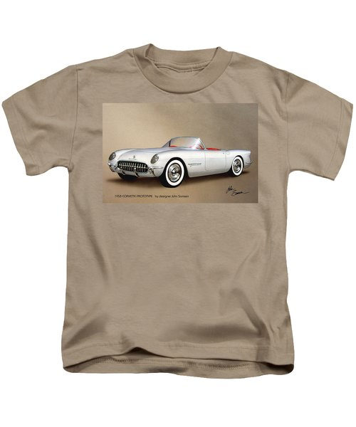 1953 Corvette Classic Vintage Sports Car Automotive Art Kids T-Shirt by John Samsen
