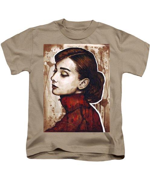 Audrey Hepburn Kids T-Shirt by Olga Shvartsur