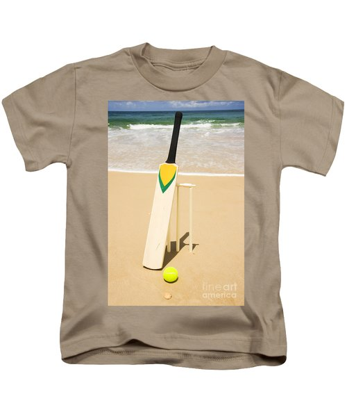 Bat Ball And Stumps Kids T-Shirt by Jorgo Photography - Wall Art Gallery
