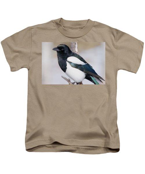 Black-billed Magpie Kids T-Shirt by Eric Glaser