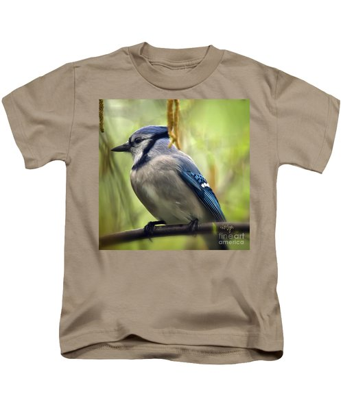 Blue Jay On A Misty Spring Day - Square Format Kids T-Shirt