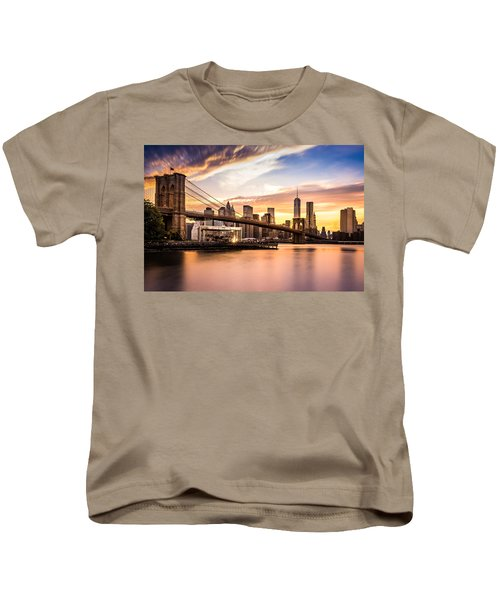 Brooklyn Bridge At Sunset  Kids T-Shirt