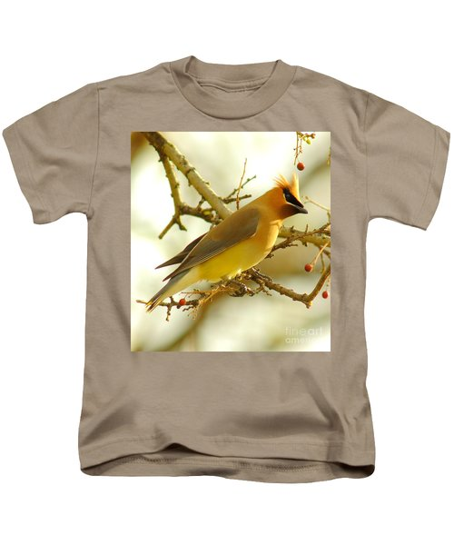 Cedar Waxwing Kids T-Shirt by Robert Frederick