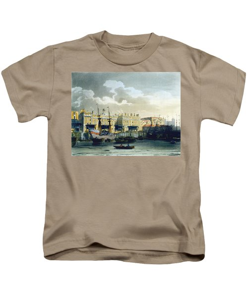 Custom House From The River Thames Kids T-Shirt by T. & Pugin, A.C. Rowlandson