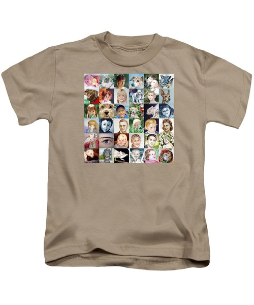 Facebook Of Faces Kids T-Shirt by Irina Sztukowski