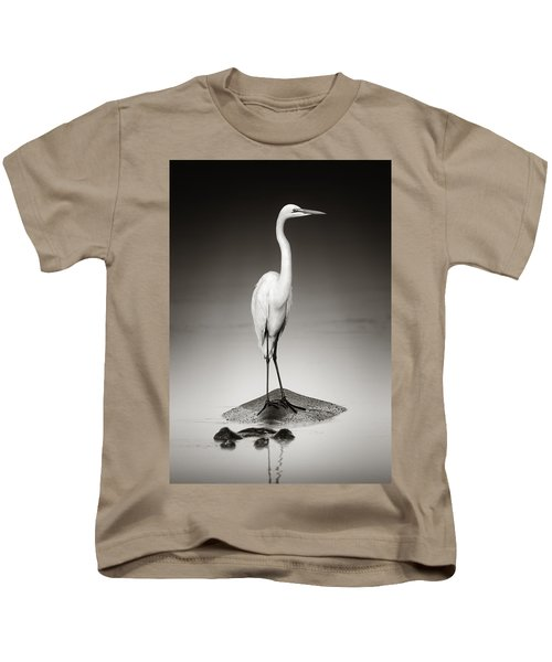 Great White Egret On Hippo Kids T-Shirt