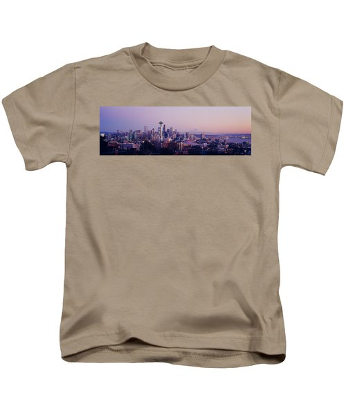High Angle View Of A City At Sunrise Kids T-Shirt