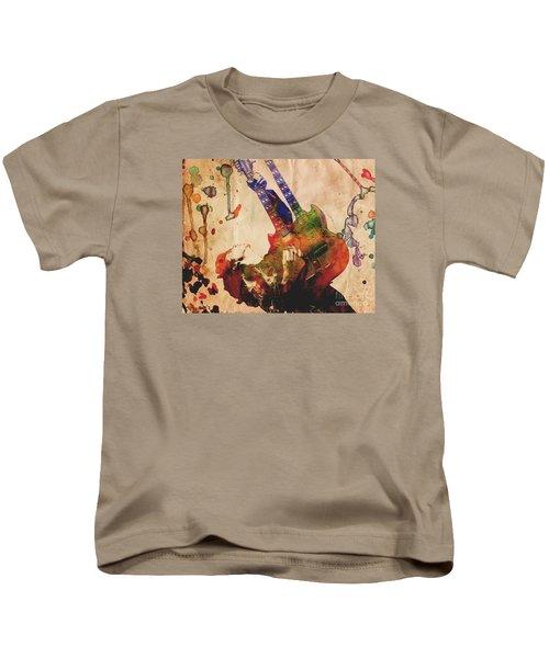 Jimmy Page - Led Zeppelin Kids T-Shirt by Ryan Rock Artist
