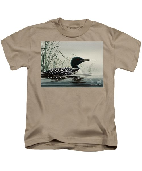Loon Near The Shore Kids T-Shirt by James Williamson