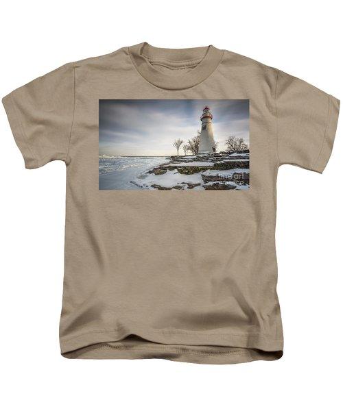 Marblehead Lighthouse Winter Kids T-Shirt by James Dean