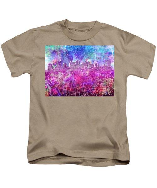 Nashville Skyline Watercolor Kids T-Shirt