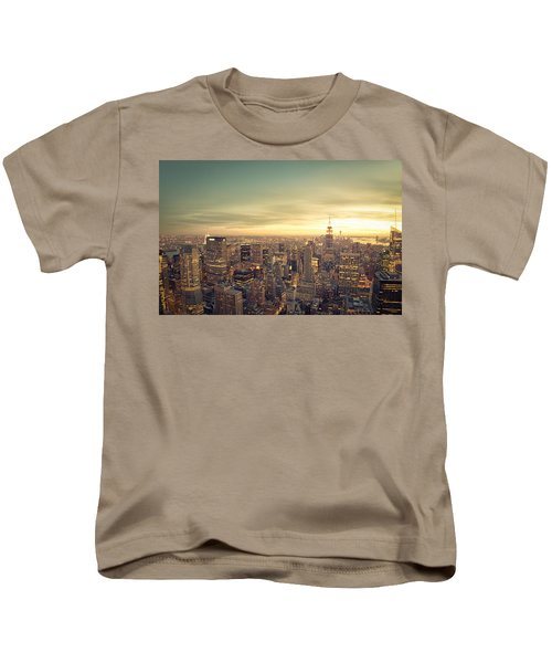 New York City - Skyline At Sunset Kids T-Shirt